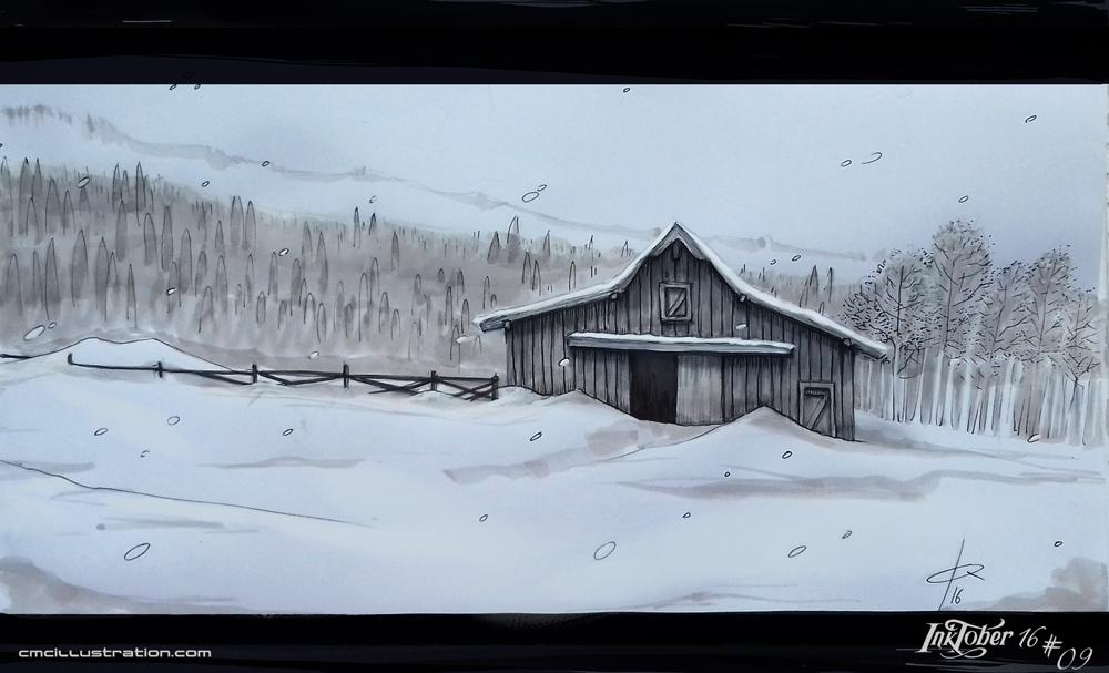 SnowLandscape - Inktober Day9 by Aioras