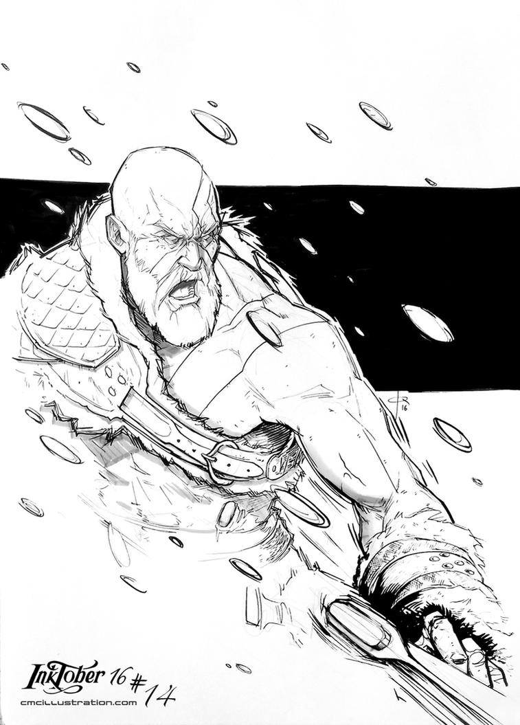 God of War 4 - inktober14 by Aioras