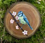Eurasian blue tit acrylic painting on wood