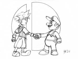 Mario Meets Sora for Smash