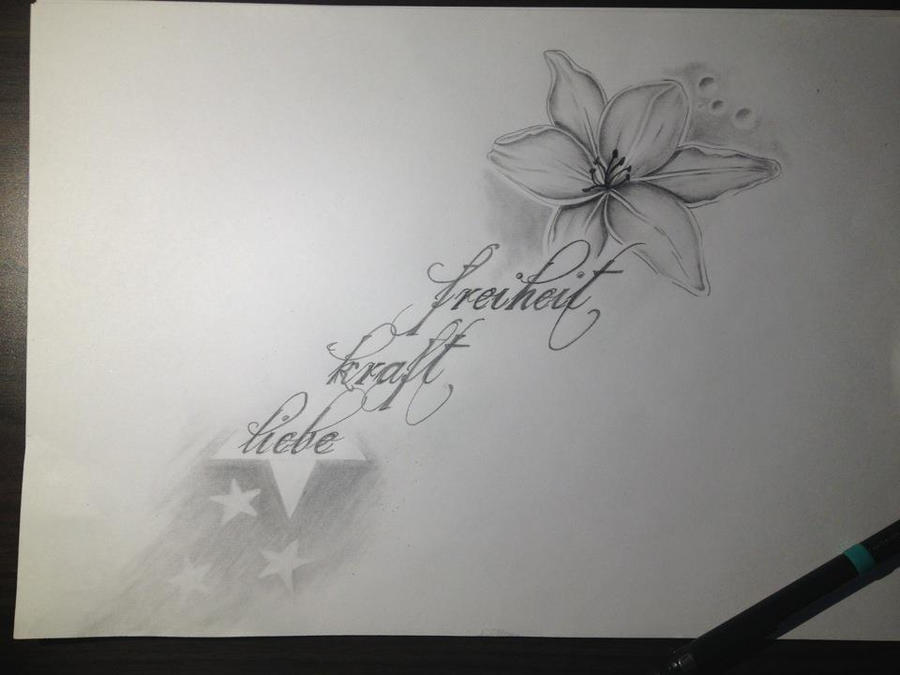 Freedom strenght love pencil drawing