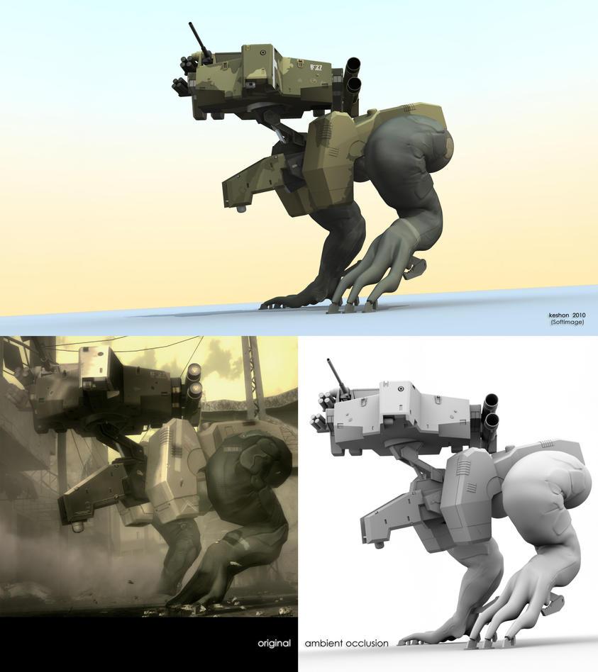MGS4: Gekko crouch pose by keshon83