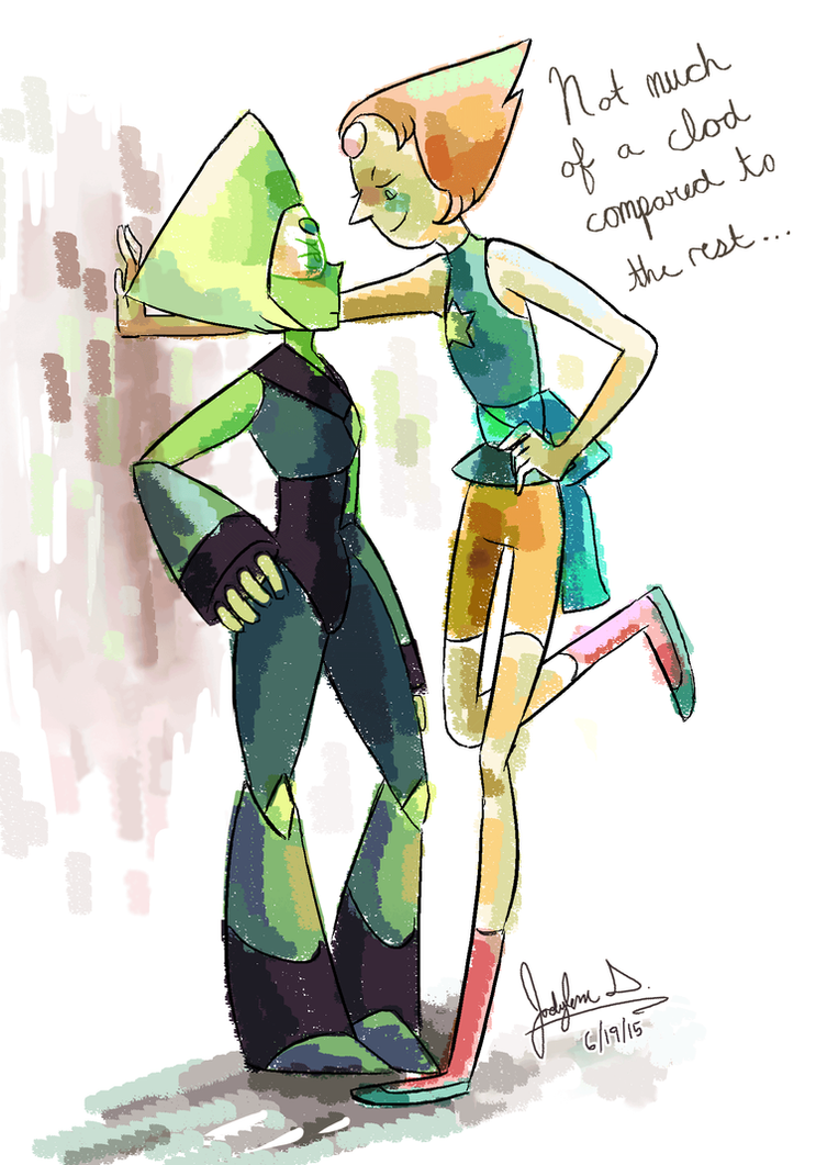 Hehehe...my friend and I were just joking around about what would happen if Pearl and Peridot fell in love.   I mean, with what's been happening in Steven Bomb -- it would be really nice ...