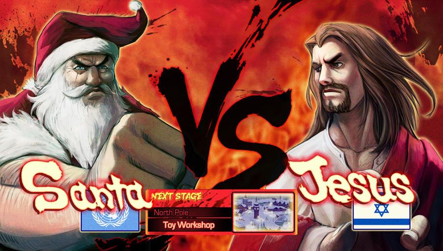 santa vs jesus by pazero - Jesus Santa
