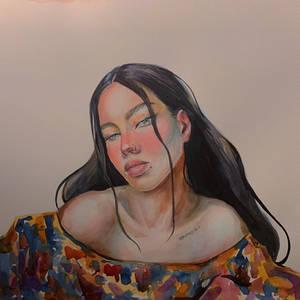 Watercolor portrait Girl flower