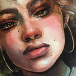 Watercolor portrait  Beautiful girl