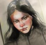 Dark watercolor portrait of beautiful girl
