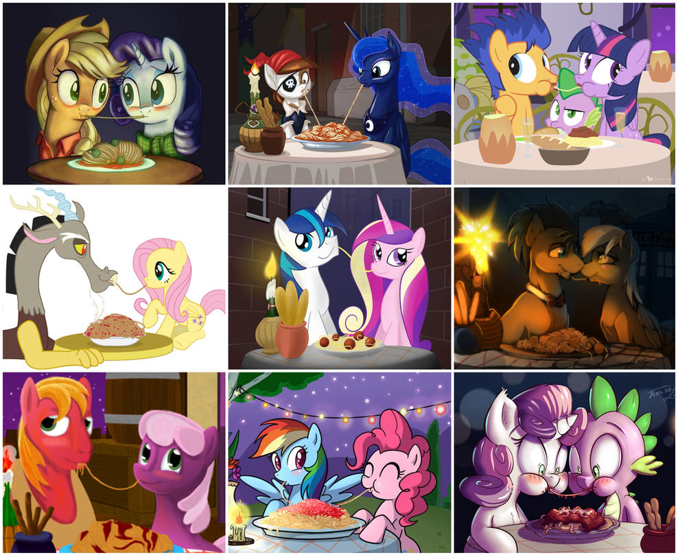 my little pony spaghetti kiss collage by gentlemany on deviantart
