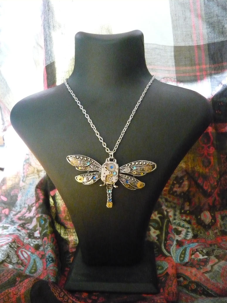 Vintage Steampunk Dragonfly Necklace by lollollol2