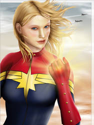 Captain Marvel - Carol Danvers - Portrait by lilyinblue