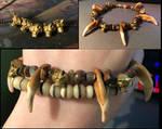 Bronze Wolf Bead and Teeth Bracelet