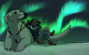 Korra and Naga Gazing at the Aurora Borealis