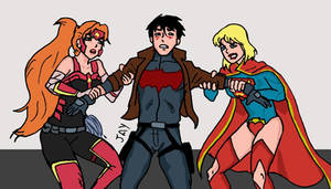 Super ladies fighting for the Red Hood