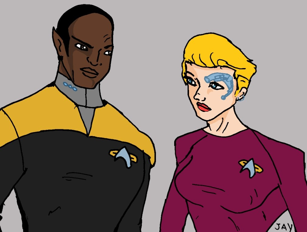 Tuvok and 7of9 doodle by Jasontodd1fan