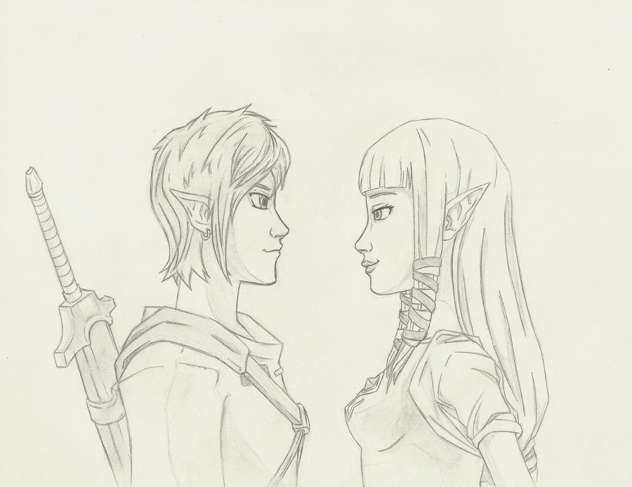 Link and Zelda by THEGODSLAYER91