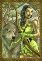 Elf with wolf by stu-b