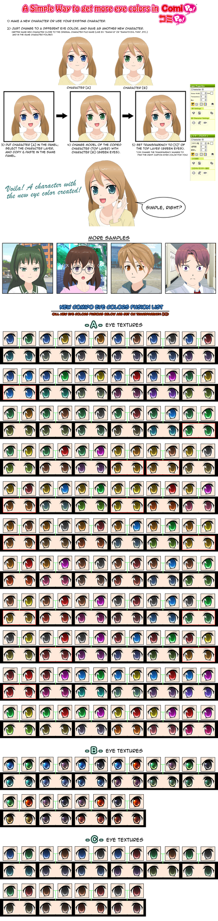 How get more Eye Colors in ComiPo + Fusion List by AKIO-NOIR