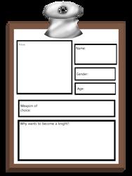 Knight School Application Sheet by DummyHeart