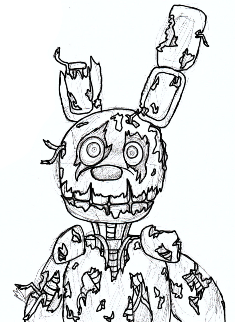 Five Nights At Freddys 3 Colouring Pages Springtrap Wip By Dummyheart On Deviantart