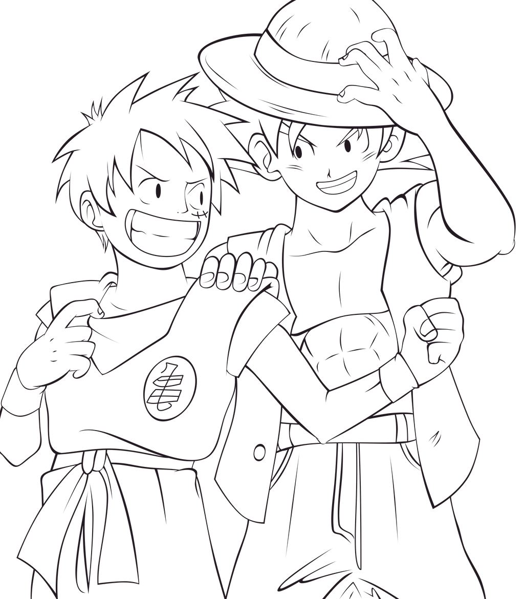 luffy and goku lineart by thewolfmonster on deviantart