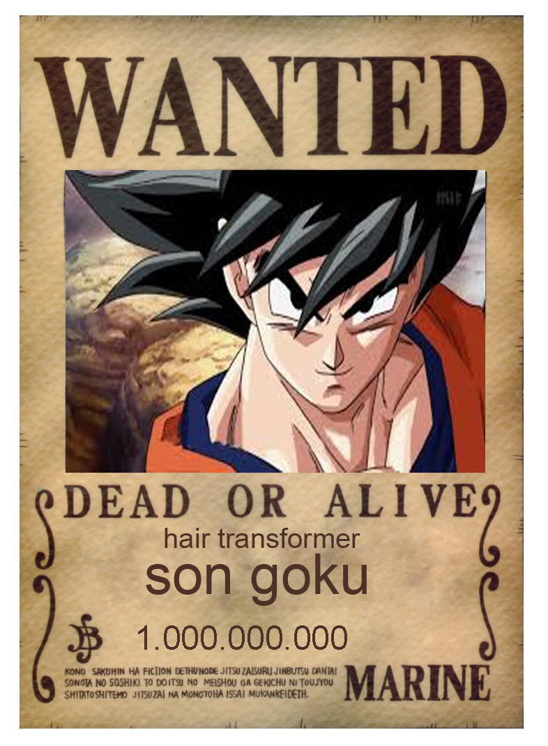 Goku one piece wanted poster by theblueflame83 on deviantart - One piece wanted poster ...