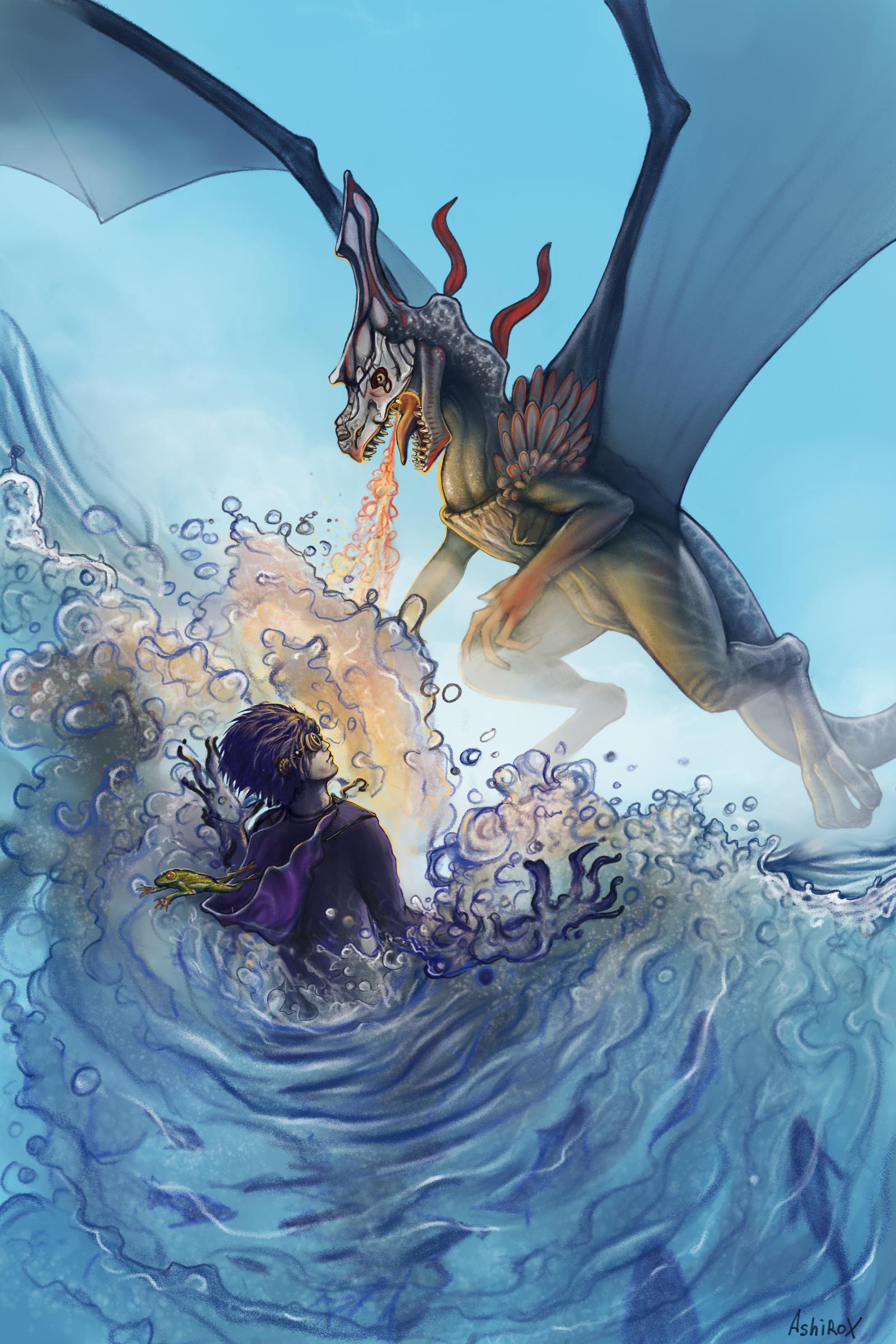 Dragon vs wizard by AshiRox