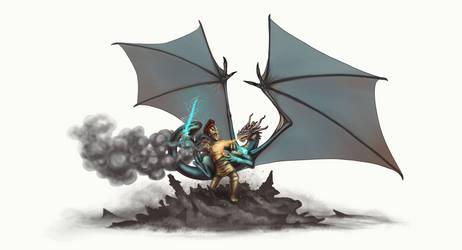 Dragon vs. Titan by AshiRox