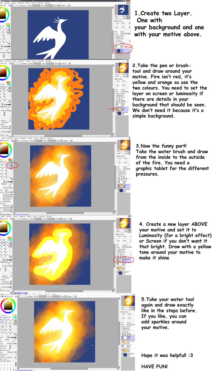 Shiny fire SAI tutorial by Jack-a-Lynn