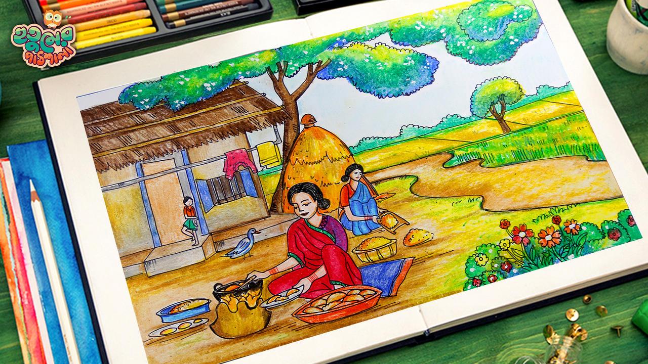 Village Women Winter Pitha Making Drawing Tutorial By Hutumschool On Deviantart