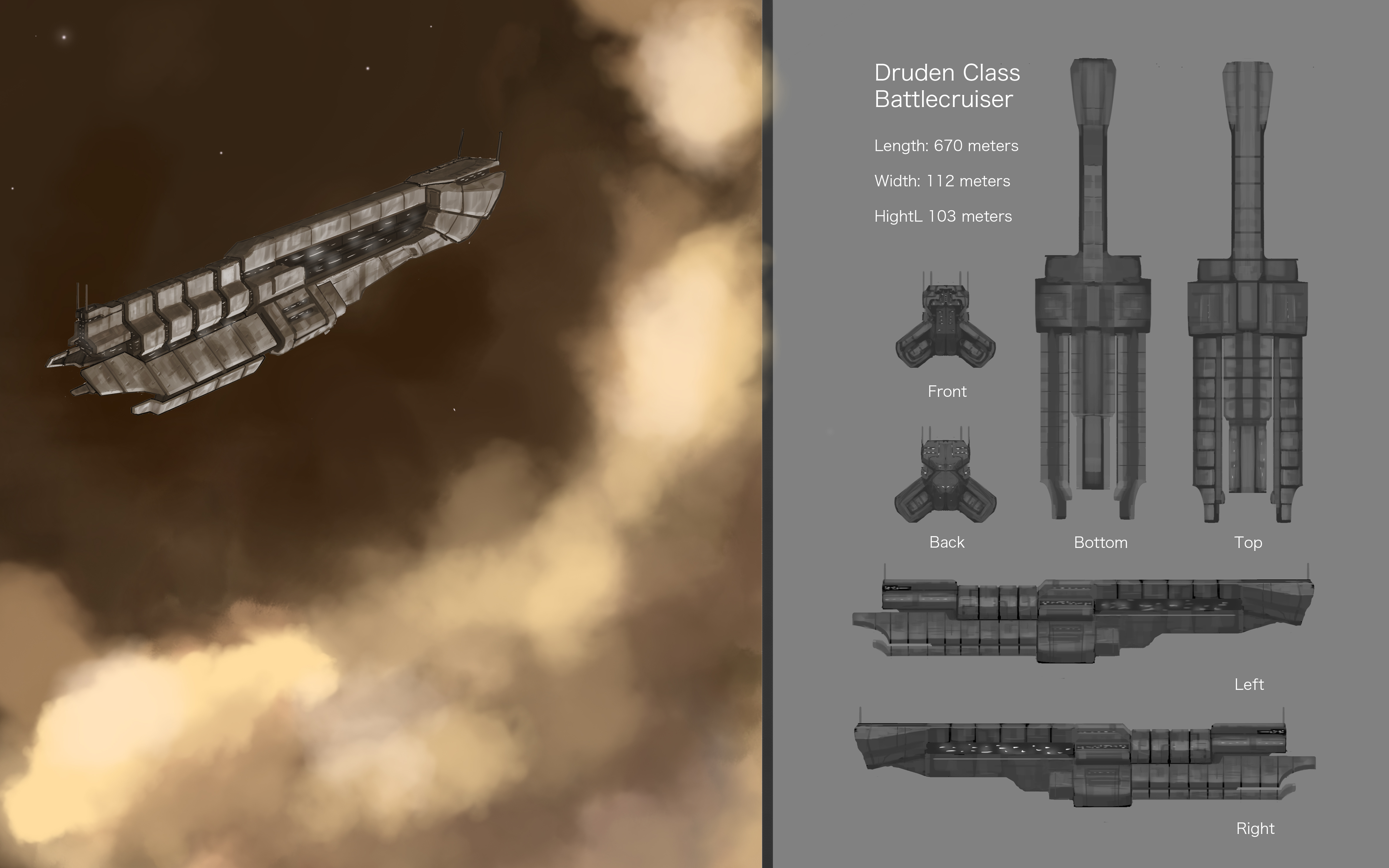 Druden Class Battlecruiser by ModalMechanica