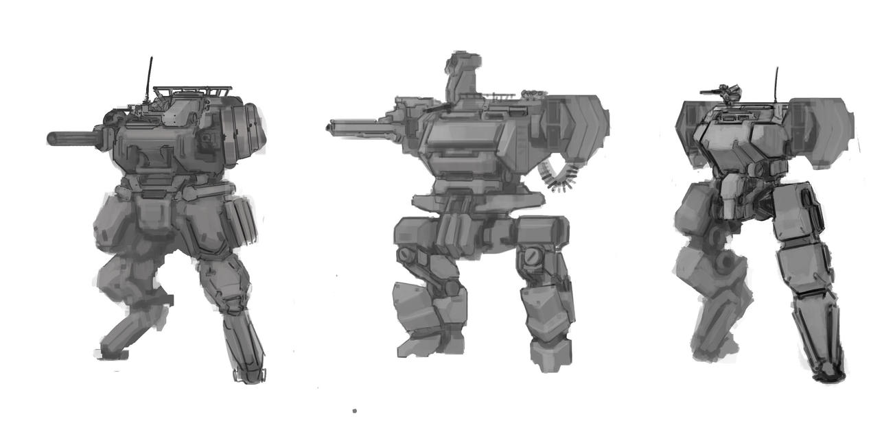 Mecha Design Variations 1 by ModalMechanica
