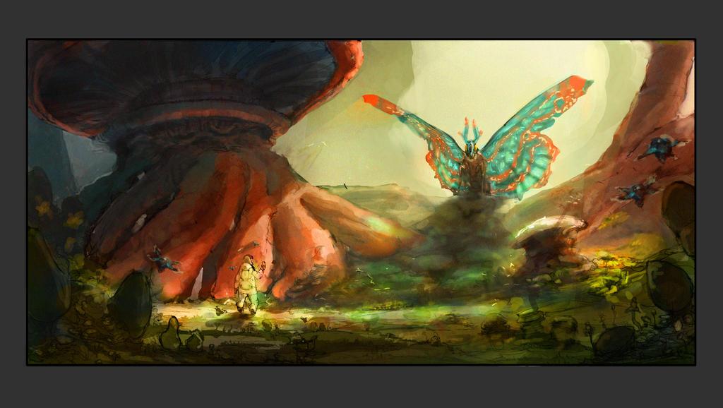 Butterfly Mushroom Forest by ModalMechanica