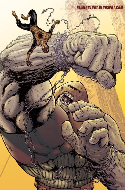 Spiderman vs Juggernaut color by AlexFactory