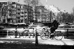Cycling in wintery Amsterdam