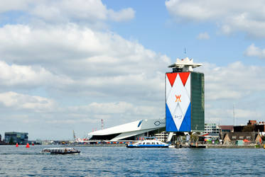 River IJ and EYE building with Royal banners by steppeland