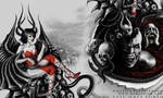 Good VS Evil half torso tattoo design by mariamism