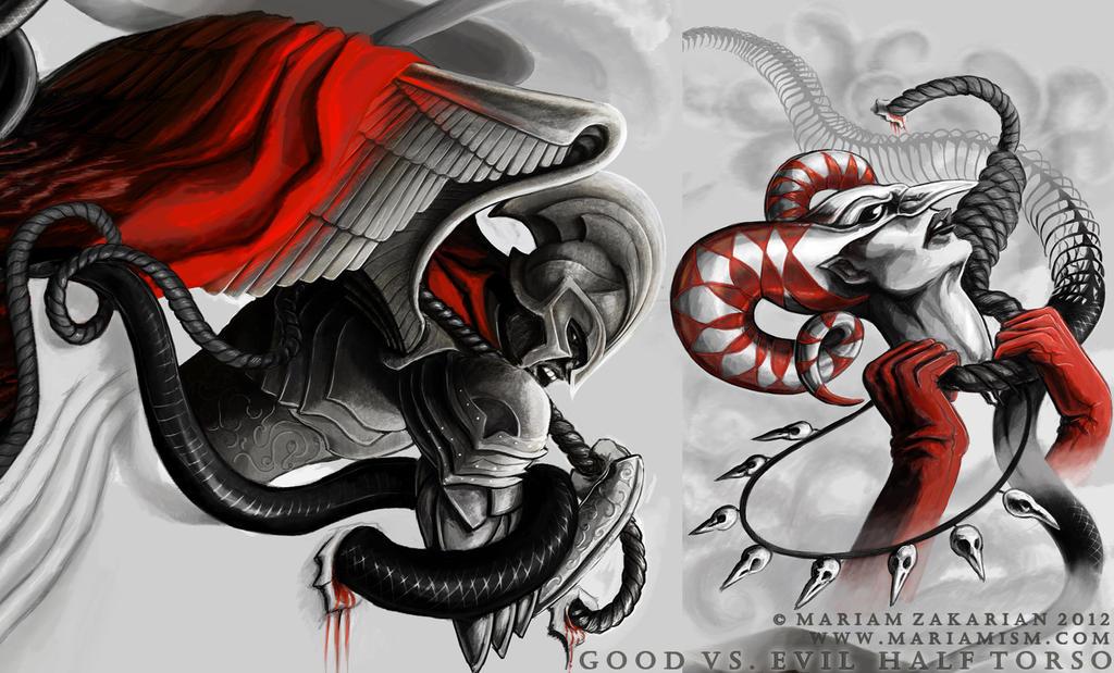 Good vs Evil Tattoos Sleeves