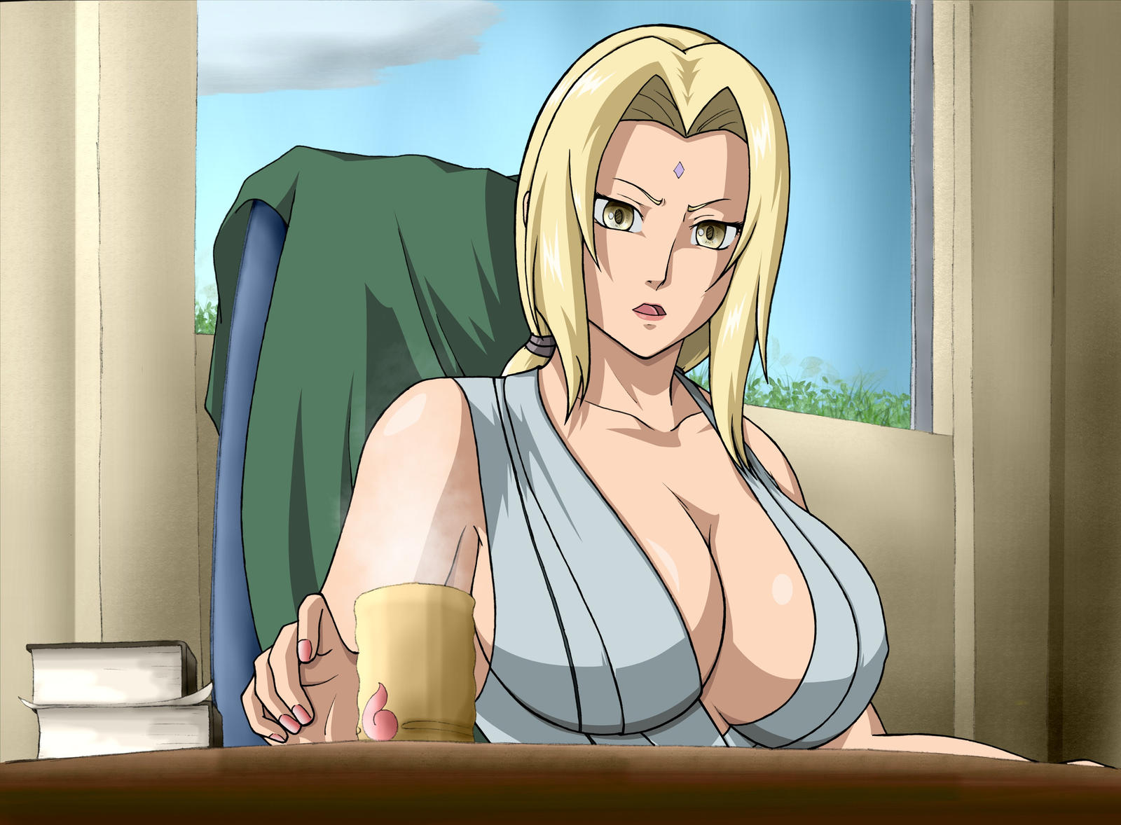 Coffee time for Tsunade by KaenDD Ashley shows her deadly curve's in a wicked weasel bikini.