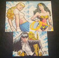Sketchcards Supergirl Wonder Woman Zatanna by hamdiggy