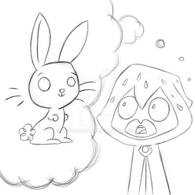 TTG + MLP: Raven + Angel Bunny -sketch- by mscherbear