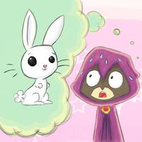 TTG + MLP: Raven + Angel Bunny -color- by mscherbear