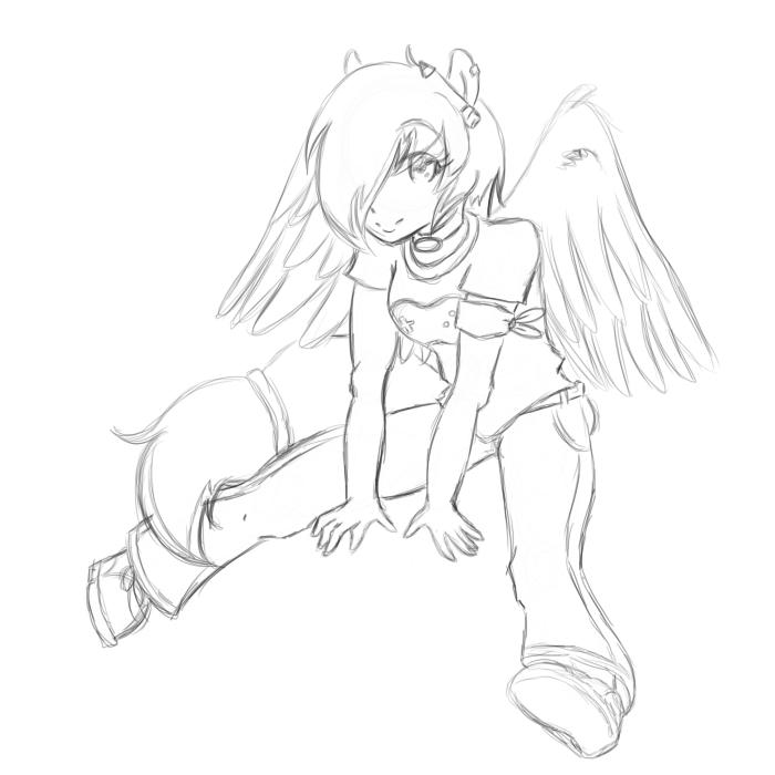 MLP: BGamer OC Pony Humanized -sketch- by mscherbear