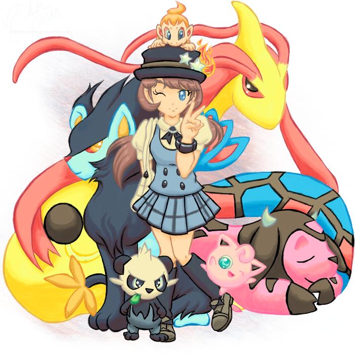 Pokemon: X+Y Trainer CherBear + Team -color- by mscherbear