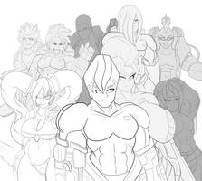 :Commission: :Lineart: Warmen Group