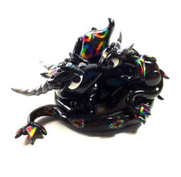 Rainbow Mama and Baby Dragon Sculpture