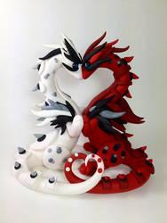 Valentine Dragon Wedding Cake Topper