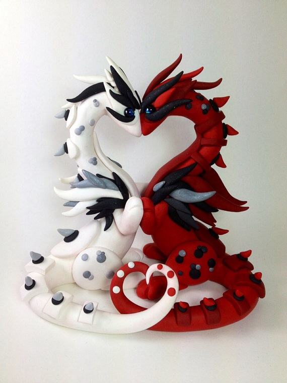 Valentine Dragon Wedding Cake Topper by MaryBunnie on DeviantArt