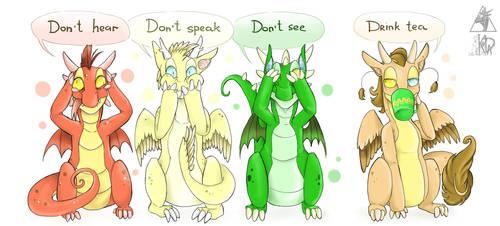 Don't hear, Don't speak, Don't see, Drink Tea by KogotsuchiDark