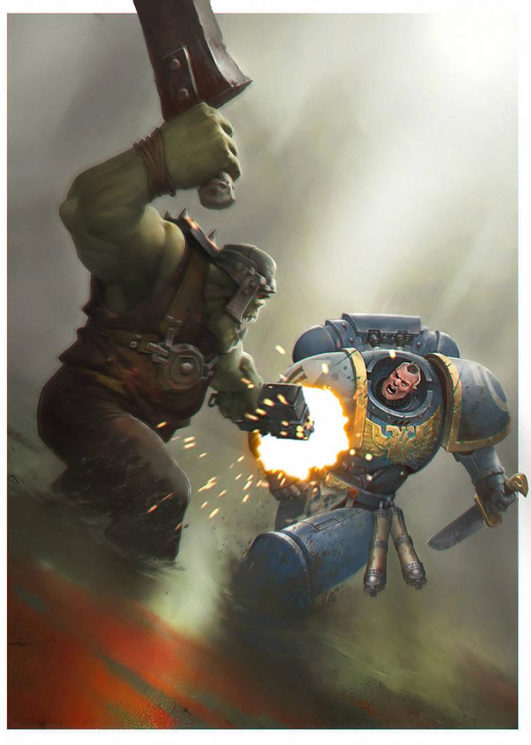 spacemarine vs ork by Duelisto