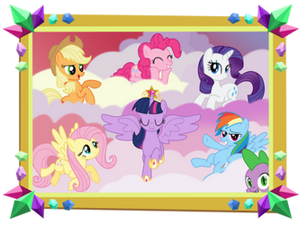 Mane 6 and Spike Picture - Castle Sweet Castle by DrLonePony